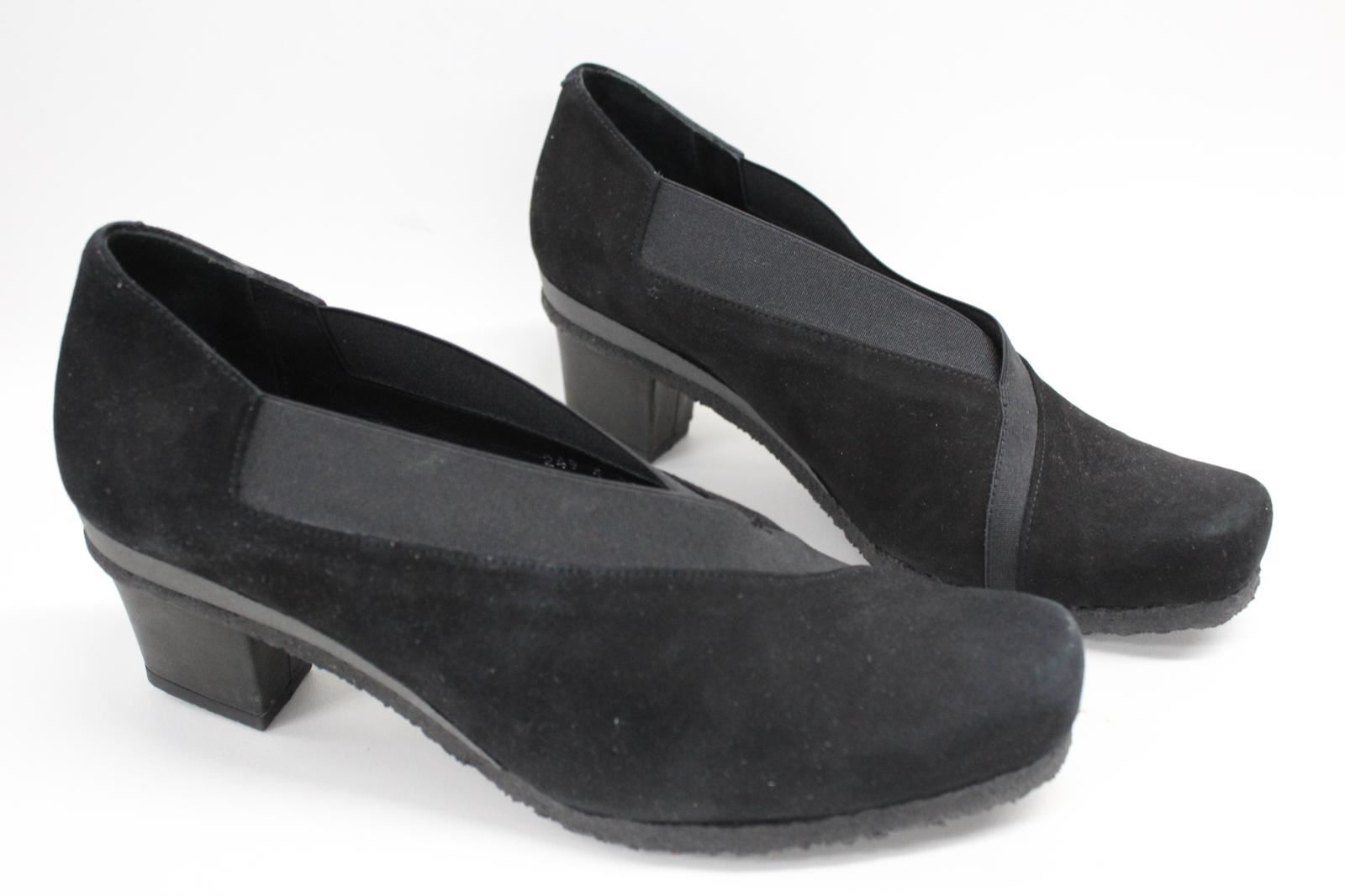 AUDLEY-London-Ladies-Black-Suede-Crossover-Block-Heels-Shoes-Size-EU39-UK6