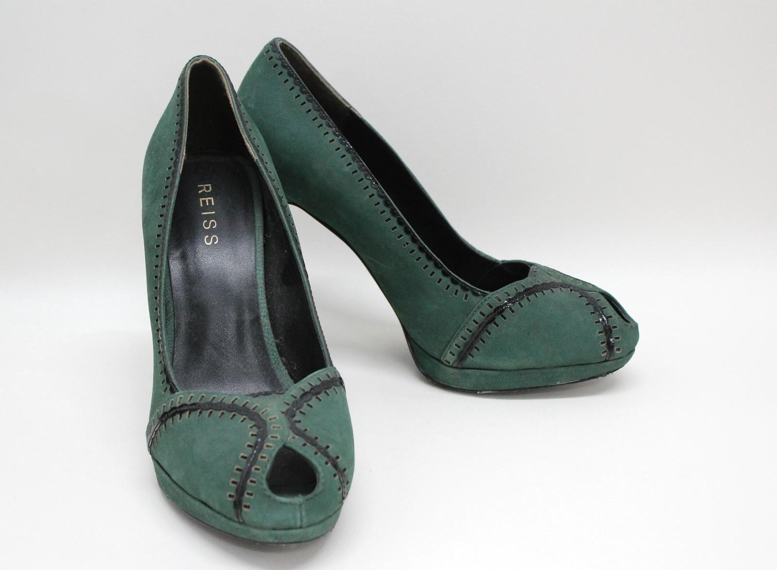 REISS-Ladies-Green-Black-Suede-Cut-Out-Peep-Toe-Court-Shoes-Size-UK8-EU41