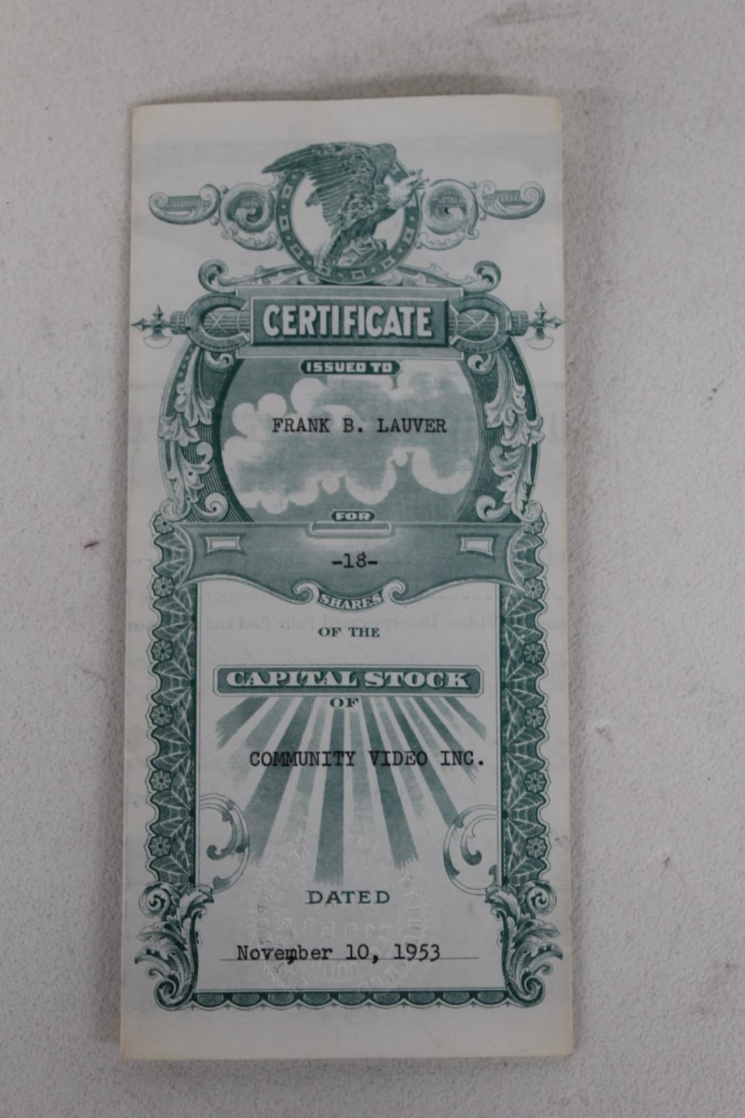 COMMUNITY-VIDEO-INCORPORATED-18-Shares-1953-Stock-Issue-No-1-Certificate