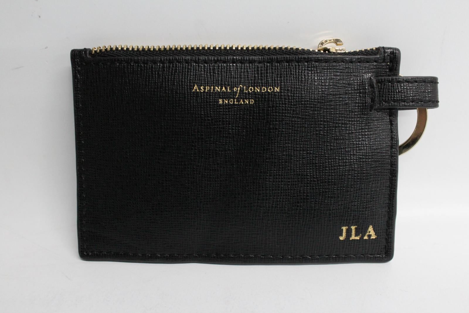 ASPINAL-OF-LONDON-Black-Leather-Small-Coin-Flat-Pouch-Wallet-With-Initials-JLA