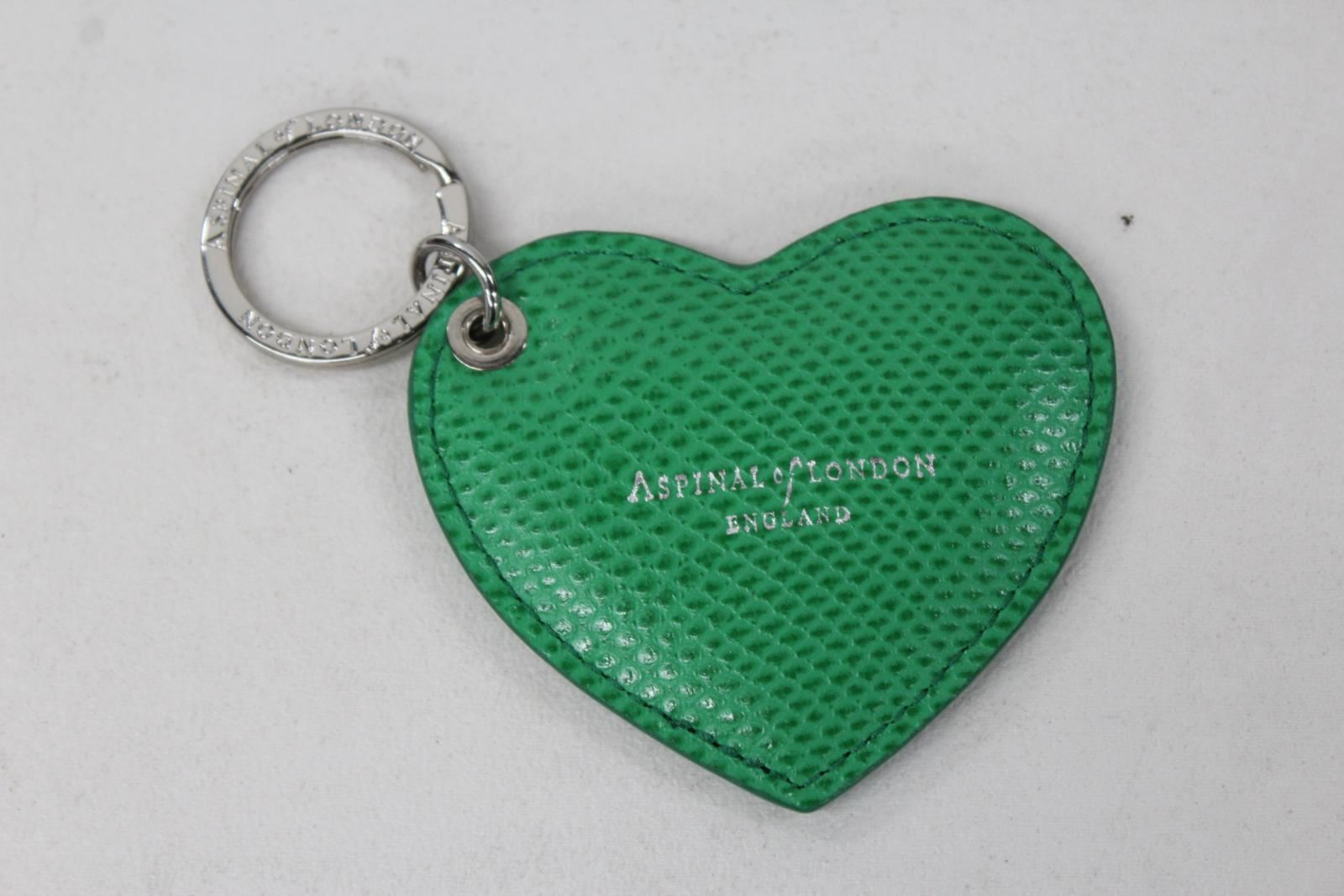 ASPINAL-OF-LONDON-Ladies-Green-Lizard-Print-Leather-Stamped-Heart-Keyring-NEW