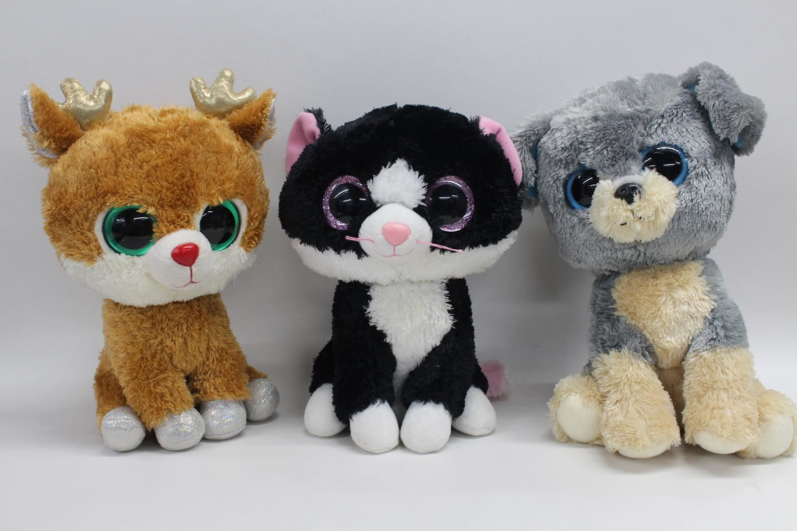 TY-Beanie-Boo-9-Inch-Pepper-The-Cat-Alpine-The-Reindeer-Soft-Plush-Toy-Bundle