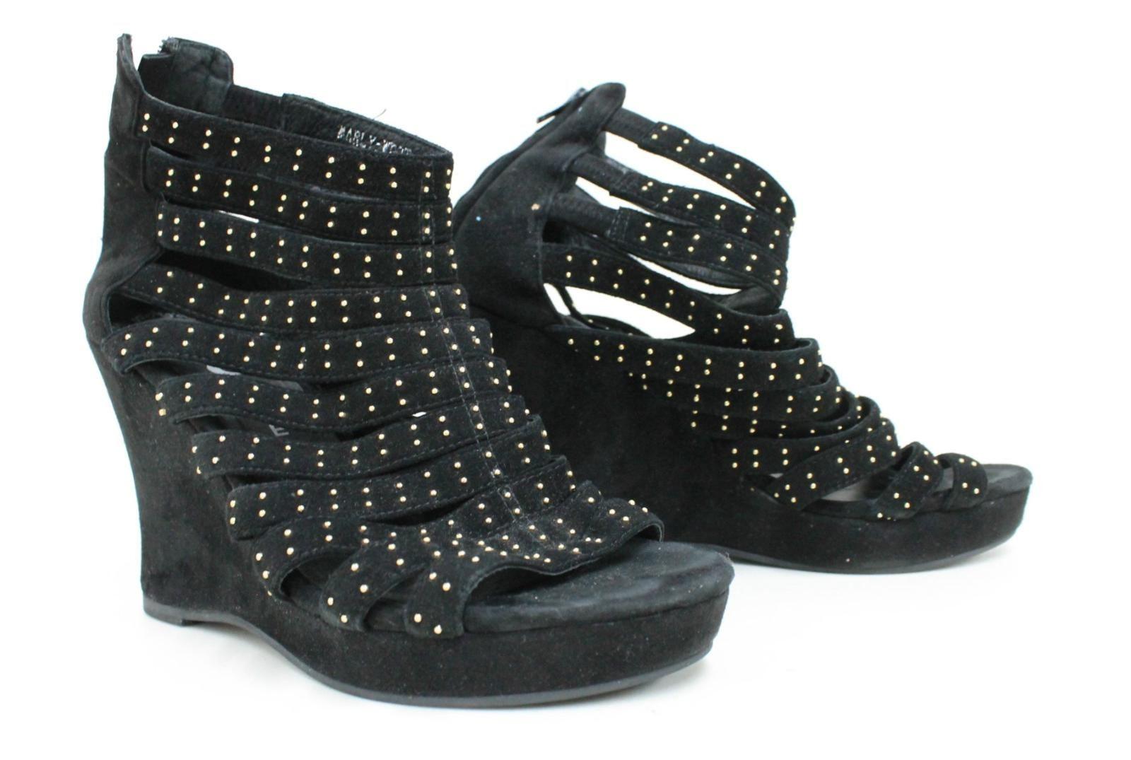 JEFFERY-CAMPBELL-Marly-Ladies-Black-Suede-Studded-Gladiator-Wedge-Sandals-UK7-5