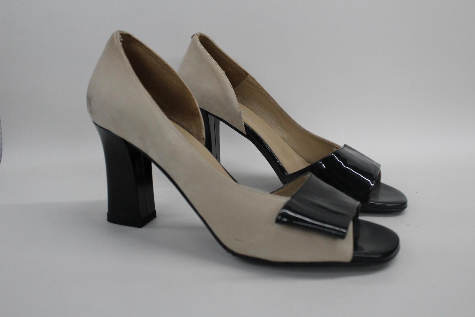AUDLEY-London-Beige-Leather-Open-Peep-Toe-Bloc-Heel-Court-Shoes-EU39-UK6