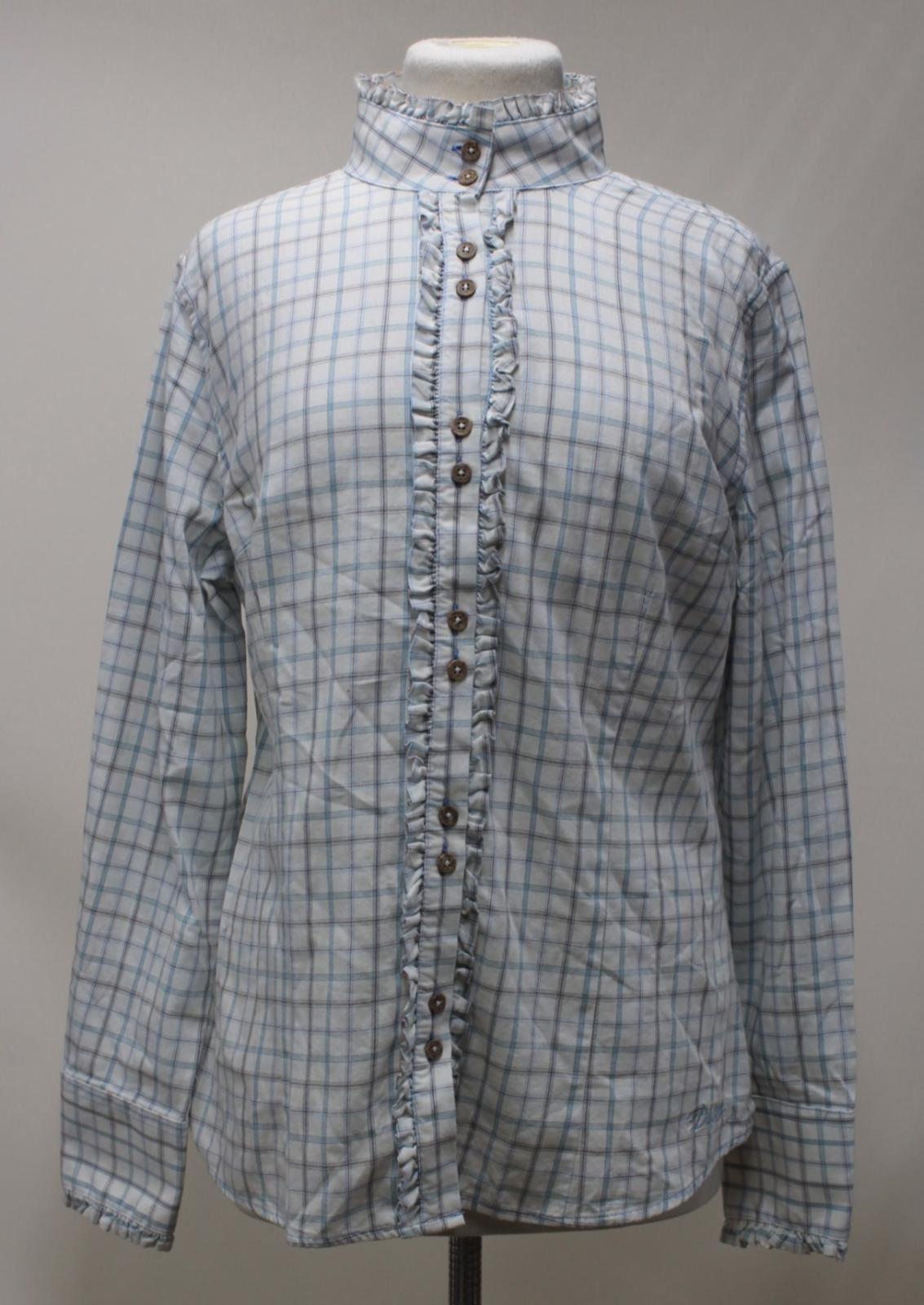 BNWT Dubarry Donna Blu controllato Ruffle Dettaglio Colletto Camicia di Rosmarino UK16