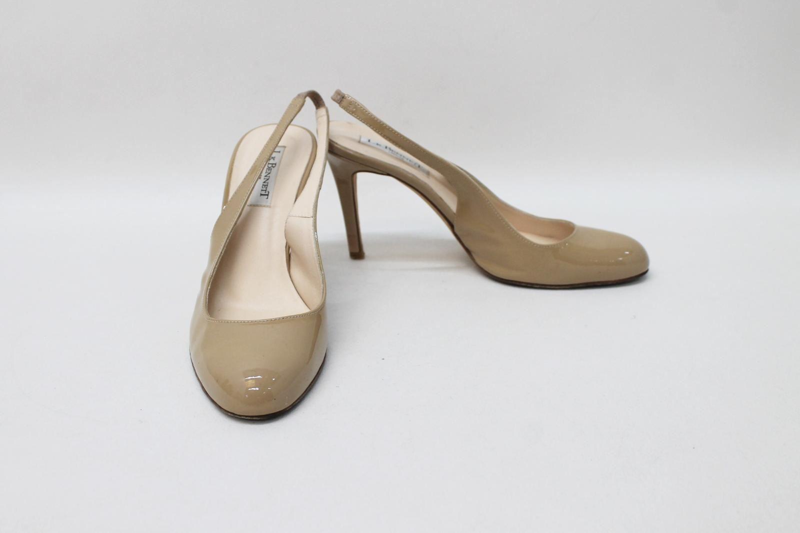 L.K.BENNETT Ladies Beige Patent Leather Sling backs shoes Size EU38.5 UK5.5