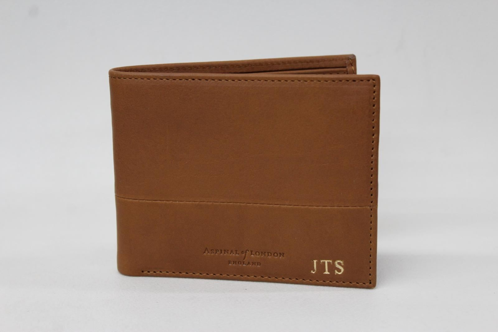 ASPINAL-OF-LONDON-Men-039-s-Tan-Brown-Leather-8-Card-amp-Note-JTS-Billfold-Wallet-NEW