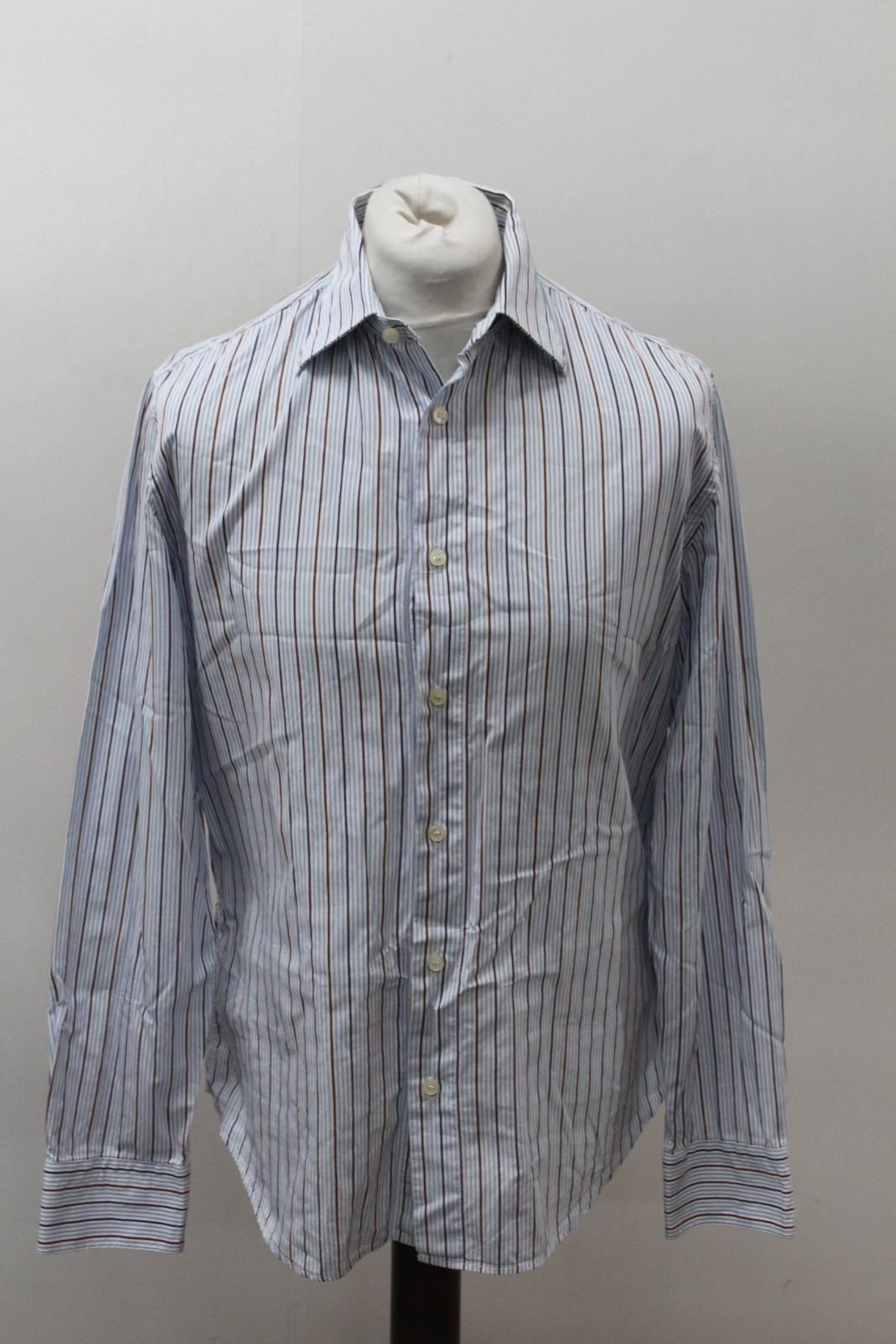 TRU-TRUSSARDI-Men-039-s-Blue-Brown-Cotton-Long-Sleeve-Striped-Casual-Shirt-L