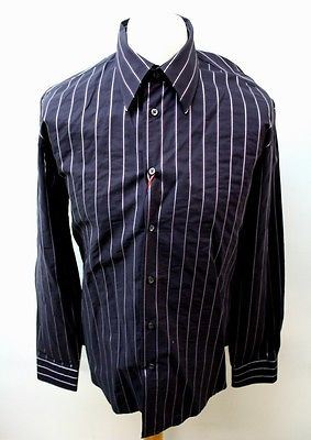 ZARA-Top-Men-039-s-Dark-Purple-Striped-Casual-Smart-Shirt-Regular-Fit-XL-Chest-42-034
