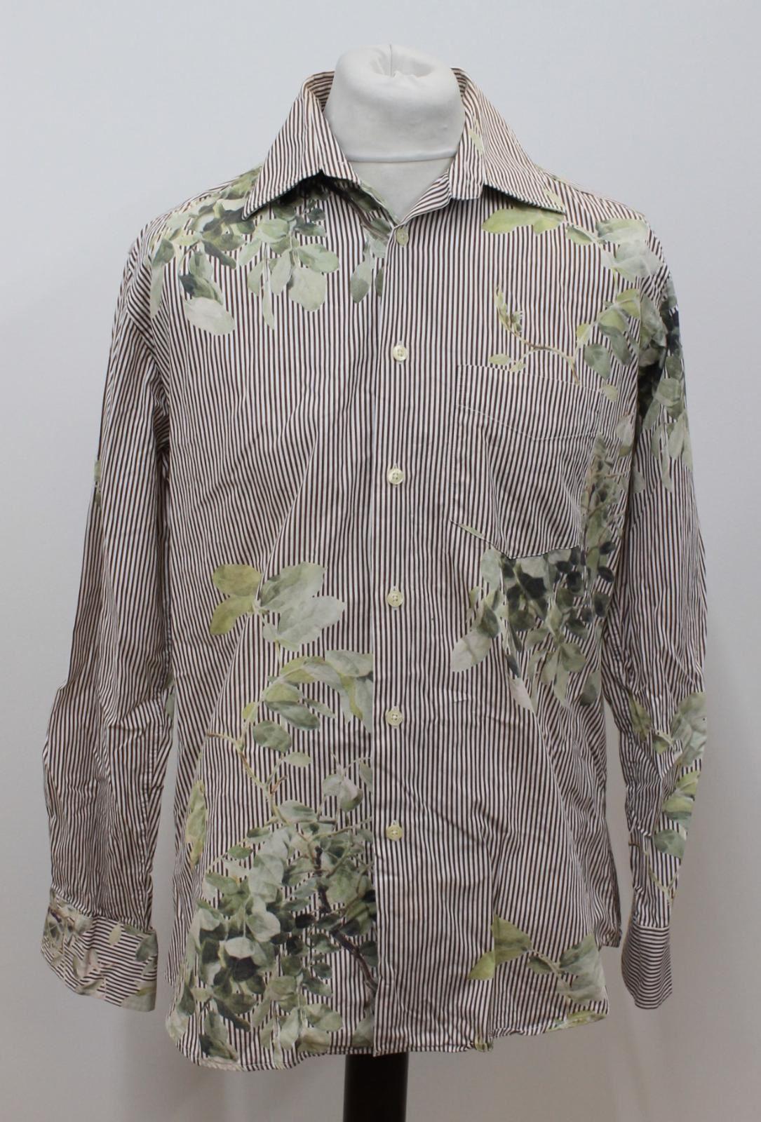 Paul-Smith-Para-Hombre-Marron-Verde-A-Rayas-Manga-Larga-de-impresion-de-hojas-Algodon-Camisa-Tamano