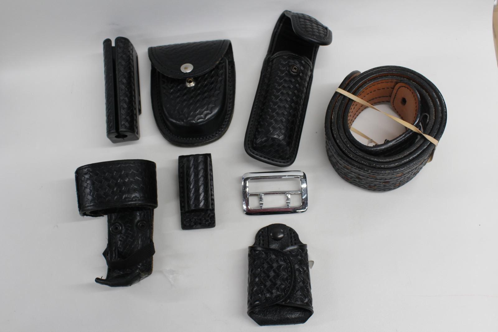Duty Ceinture Police Sécurité Cuir Set Avec Laiton Argent Boucle 6 Pièces Jointes-afficher Le Titre D'origine