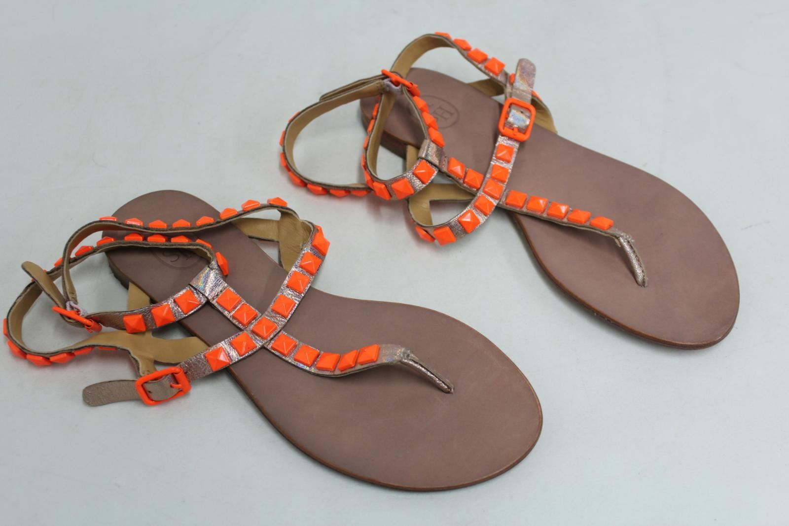 ASH Ladies Neon orange Studded Leather Metallic Sandals shoes Size UK5 EU37