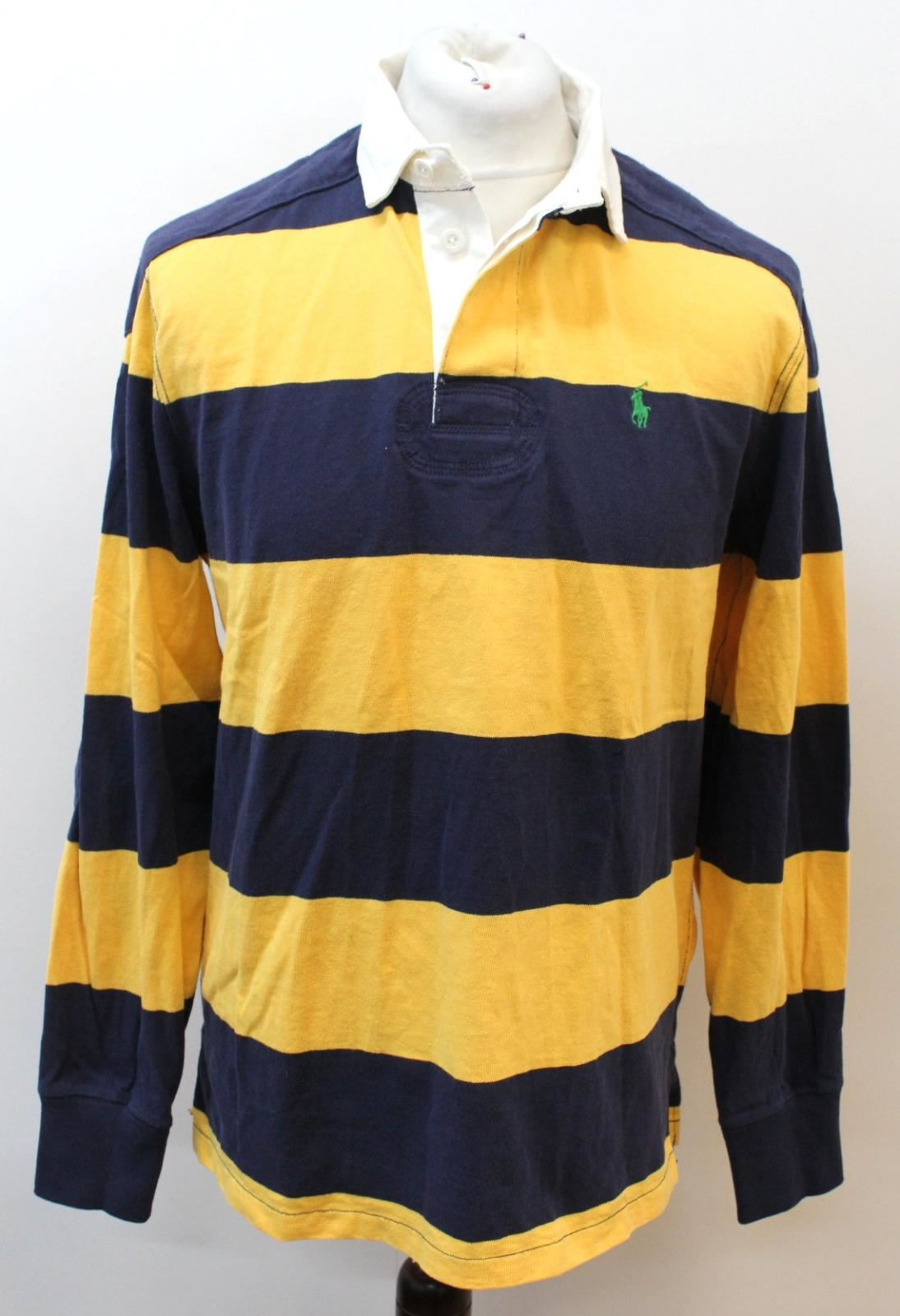 f71df7097 POLO RALPH LAUREN Men s bluee Yellow Long Sleeve Polo Rugby Shirt M Cotton  Stripe nyxeym5689-Casual Shirts   Tops