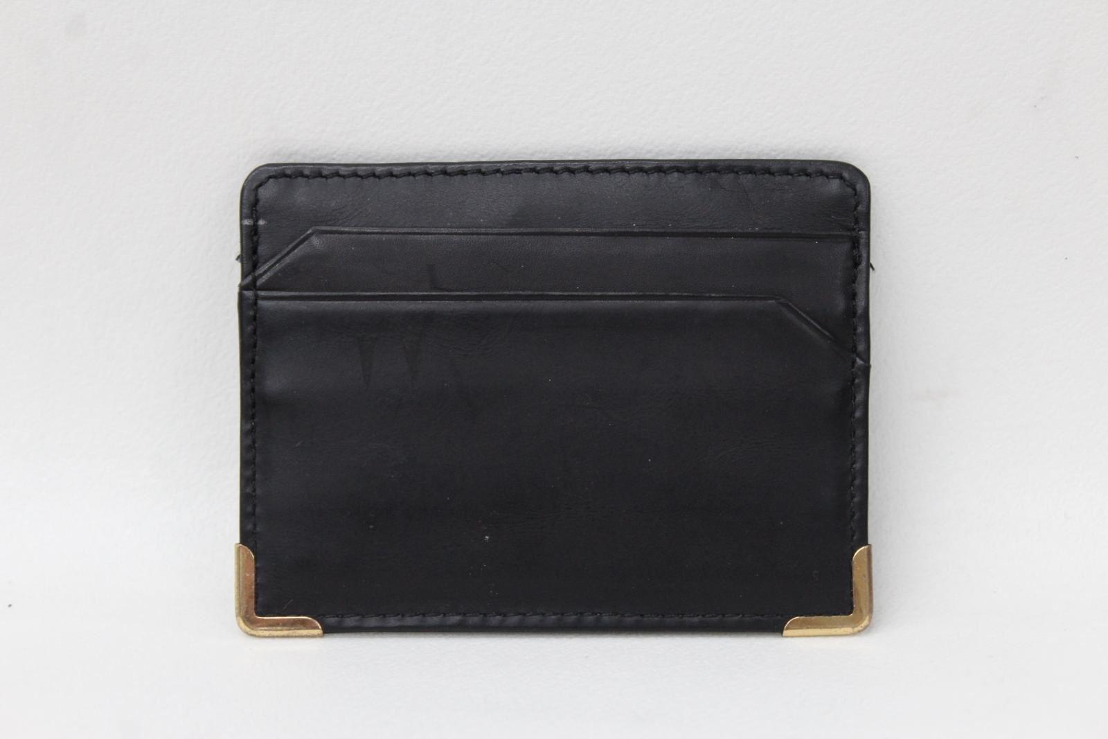 KIKI-JAMES-Men-039-s-Black-amp-White-Leather-5-Slot-Metal-Corner-Card-Holder-NEW
