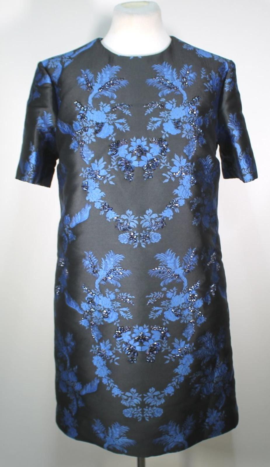 STELLA-MCCARTNEY-Ladies-Black-Blue-Laycie-Crystal-Brocade-Mini-Dress-UK12-BNWT