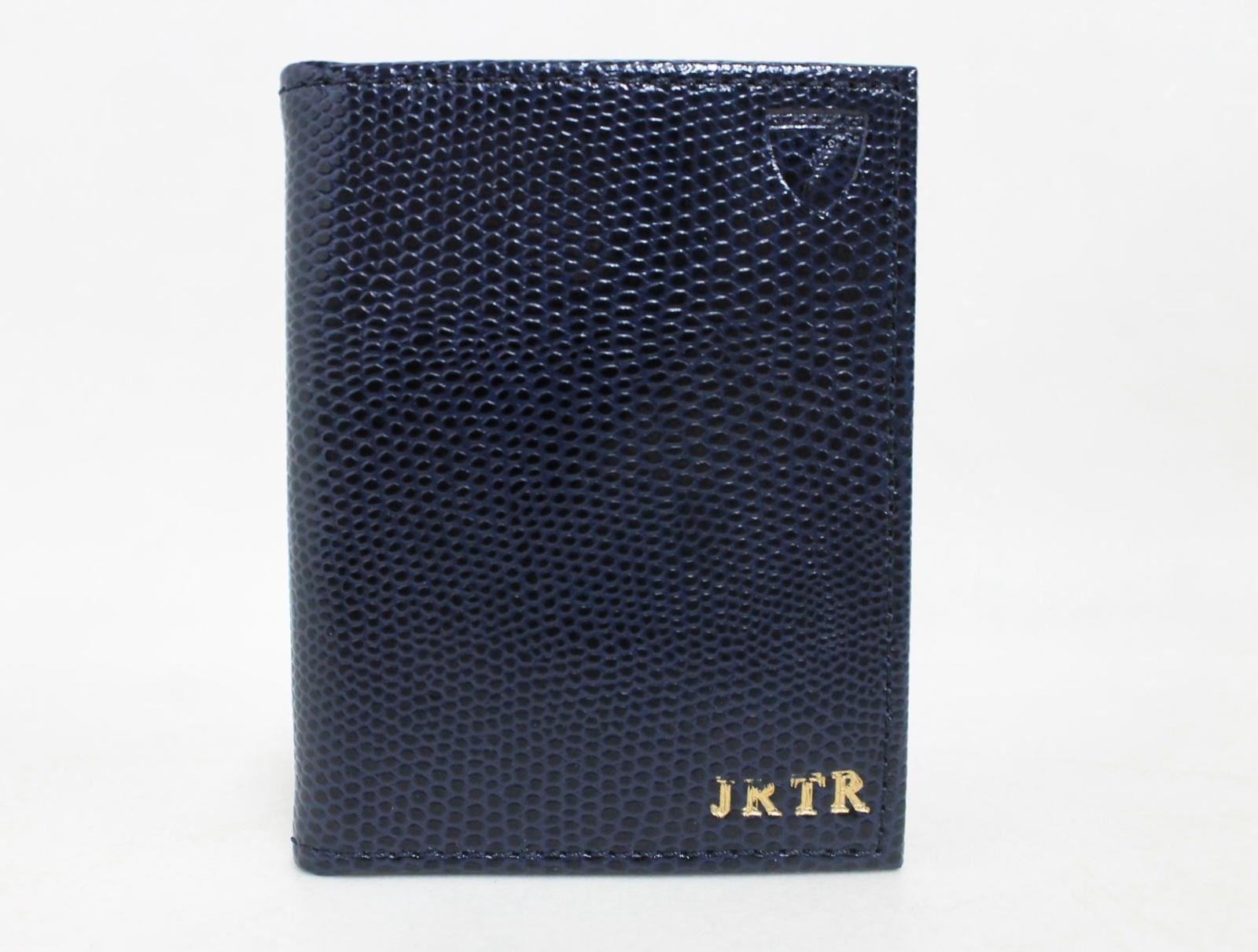 ASPINAL-OF-LONDON-Men-039-s-Blue-Lizard-Print-Leather-ID-Card-Holder-Embossed-NEW