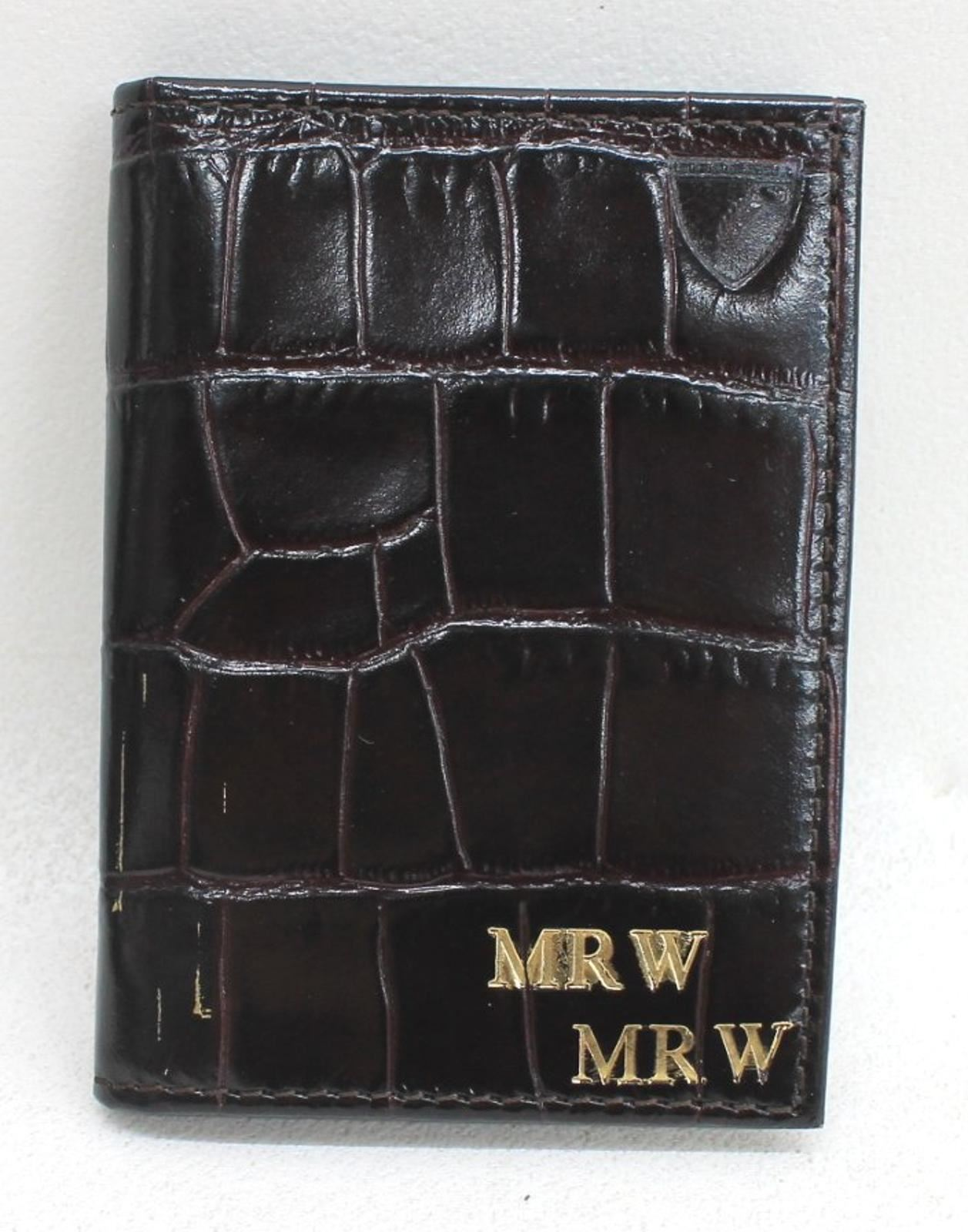 ASPINAL-OF-LONDON-Men-039-s-Brown-Croc-Leather-Print-6-Card-Case-Embossed-MR-W-NEW