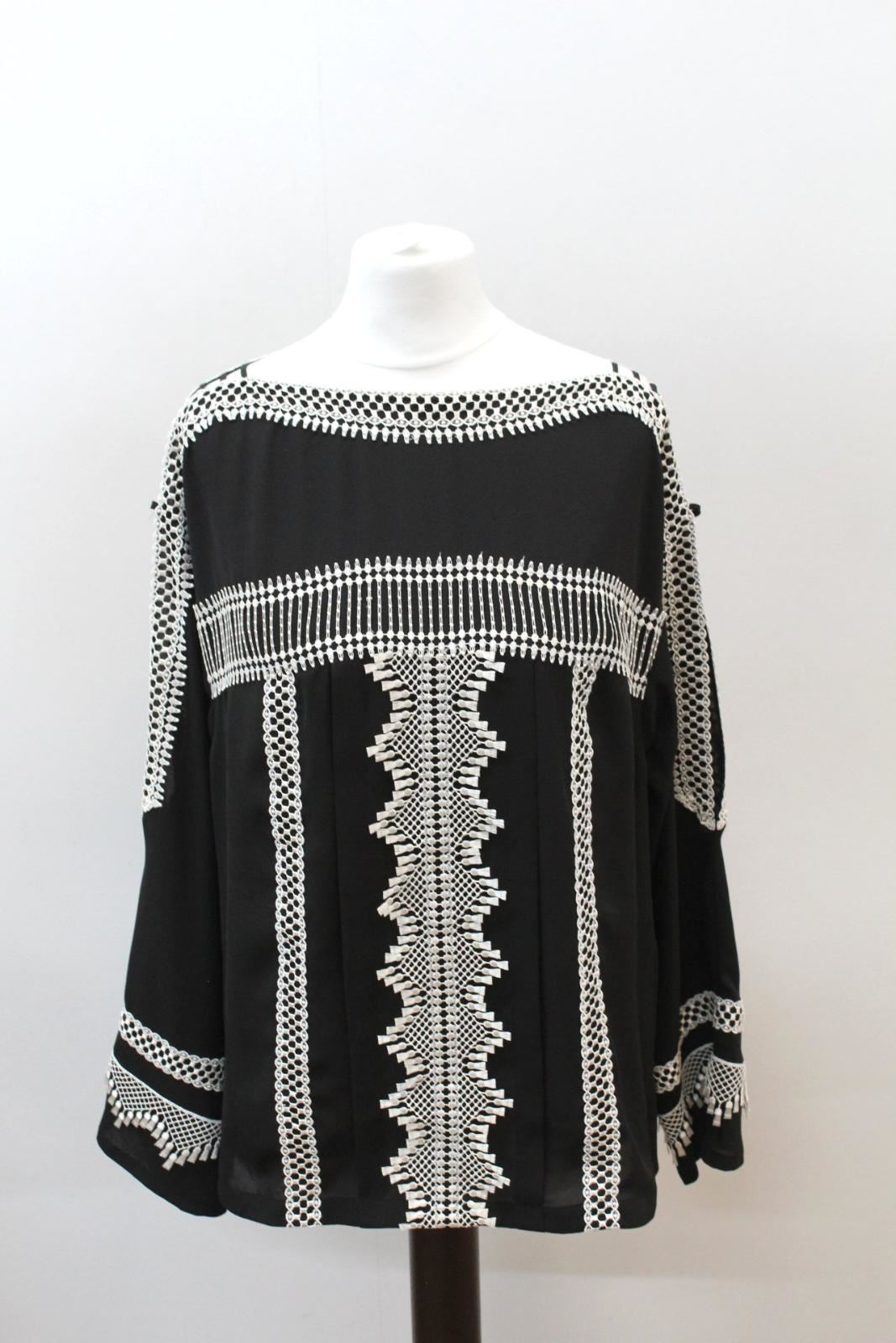 KAREN MILLEN Ladies schwarz Weiß Long Slit Sleeve Embroiderot Blouse UK12 BNWT