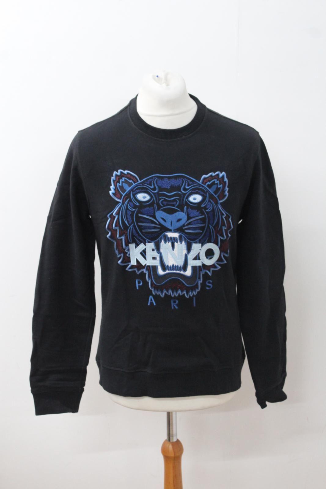 751bf57c KENZO Men's Black & Blue Tiger Head Logo Crew Neck Jumper Sweatshirt Size M