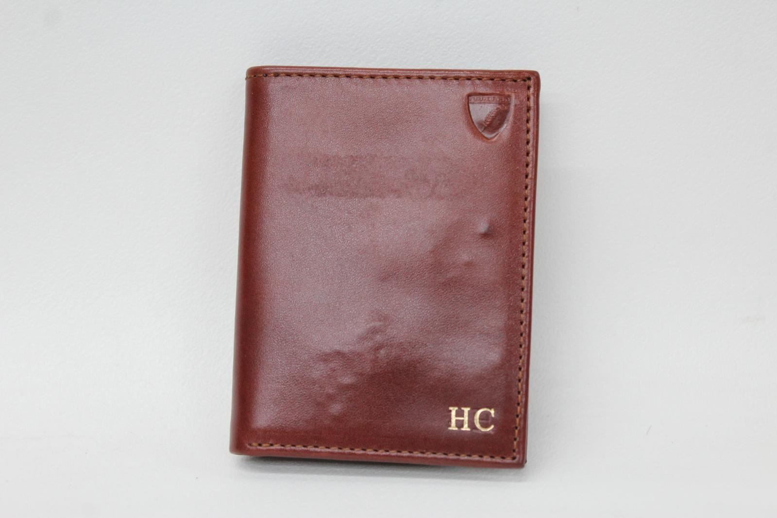 ASPINAL-Men-039-s-Cognac-Brown-Leather-HC-Embossed-Bifold-Card-Note-Wallet-NEW