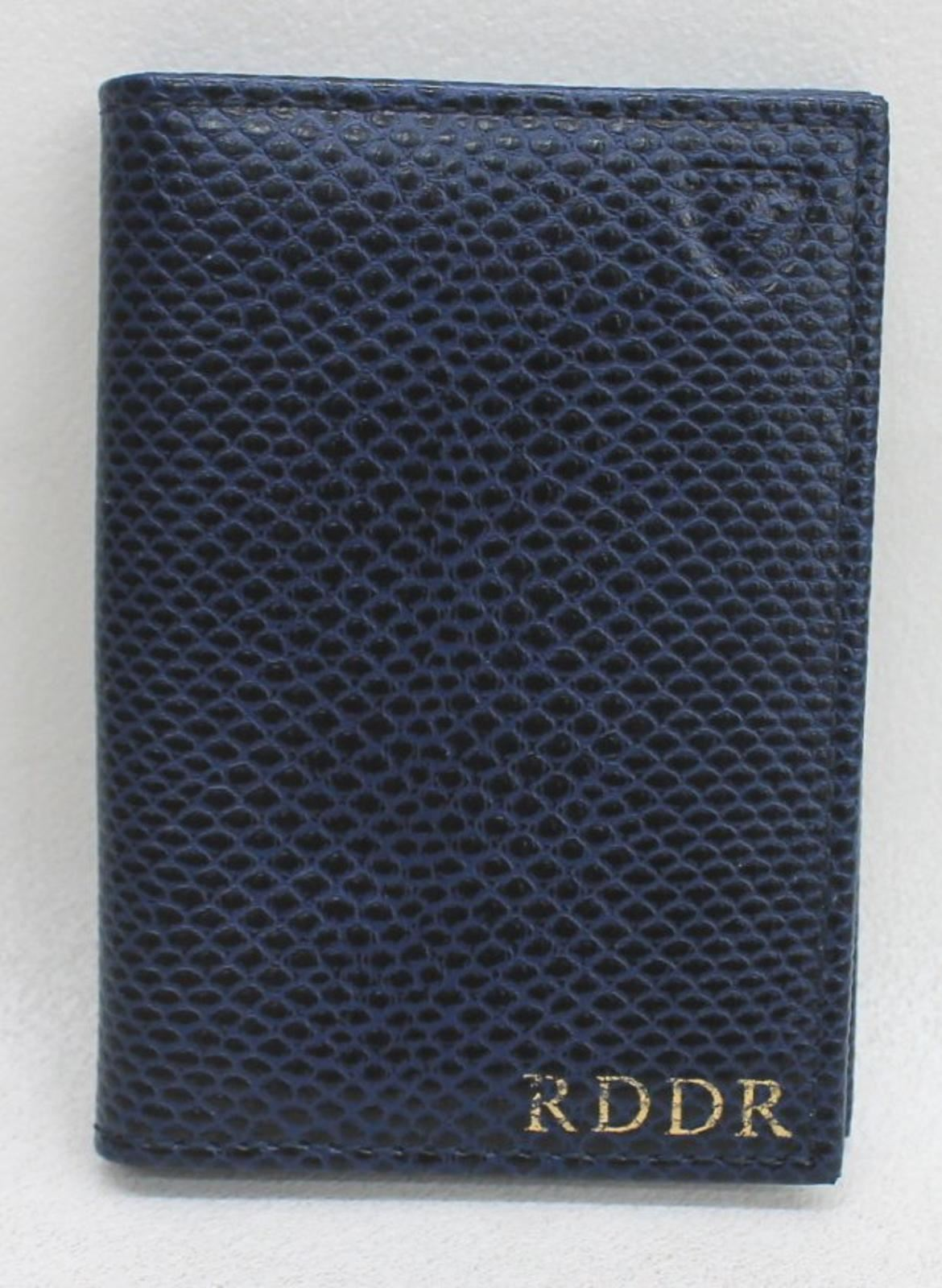 ASPINAL-OF-LONDON-Men-039-s-Blue-Lizard-Print-Leather-Card-Bifold-Case-Embossed-NEW