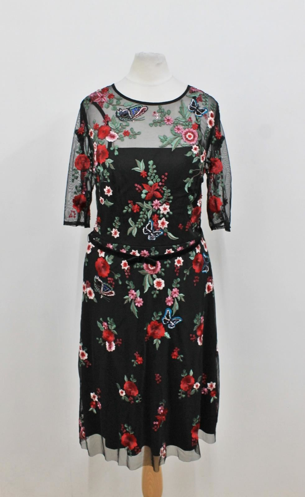 MONSOON Ladies schwarz rot Floral Embroidery Short Sleeve Mesh Dress Approx. XS