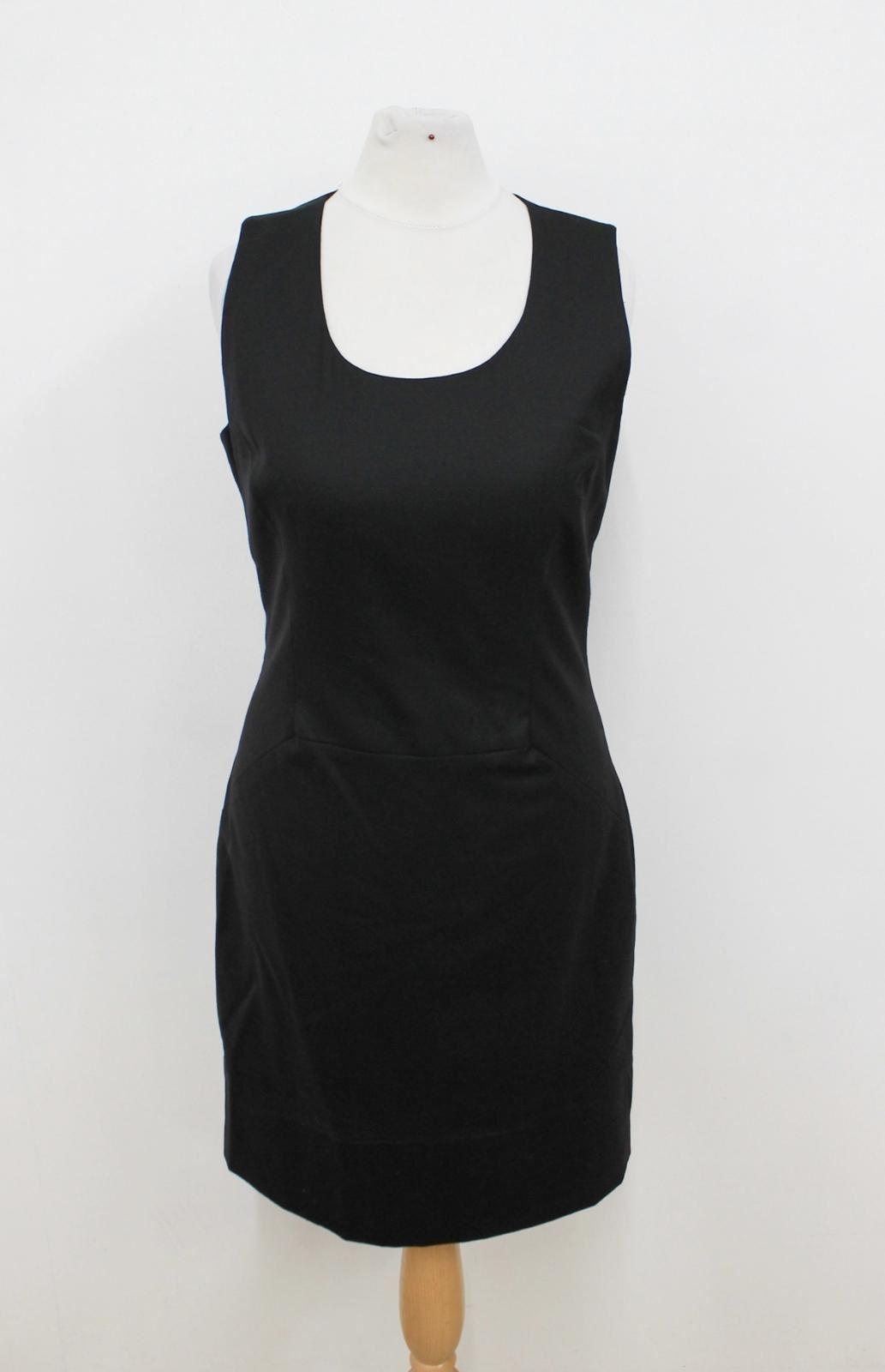 SABA Ladies schwarz Wool Blend Sleeveless Crew Neckline Shift Dress Größe UK8