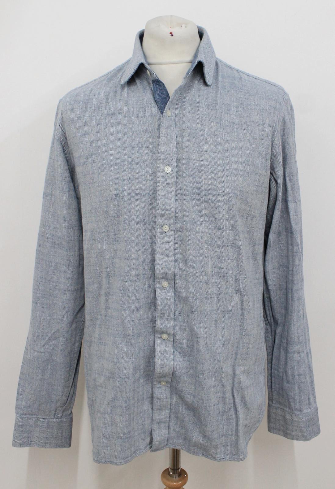 REISS Men's Light bluee Lines Pattern Cotton Long Sleeved Casual Shirt Size XL