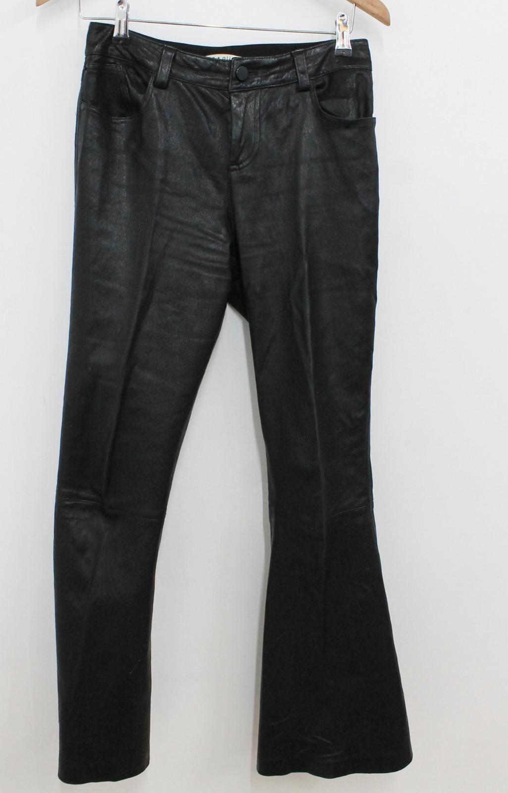 ALICE OLIVIA Donna Nero Pelle di Agnello Vita Alta Svasati Pantaloni W30 L30