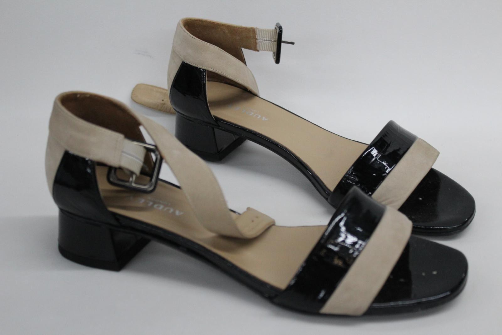 AUDLEY-London-Ladies-Black-amp-Beige-Ankle-Strap-Mid-Heel-Sandal-Shoes-EU39-UK6