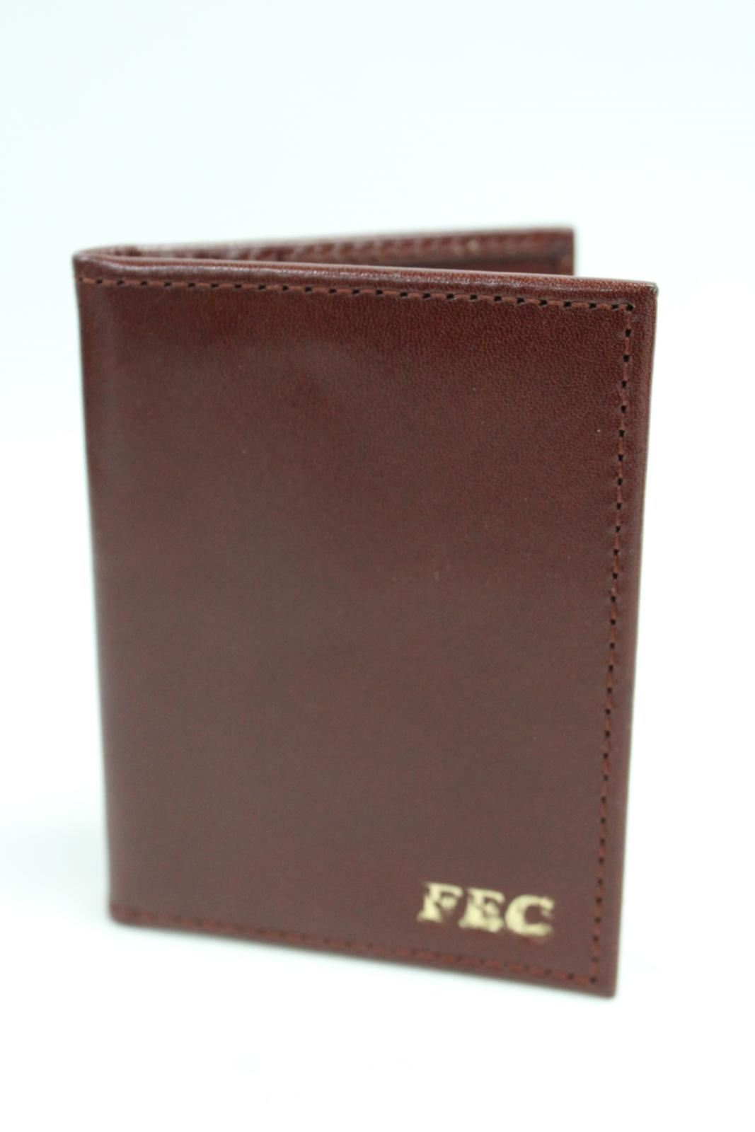 ASPINAL-OF-LONDON-Leather-ID-Bifold-3-Card-Slot-Case-Brown-Engraved-Fec-NEW