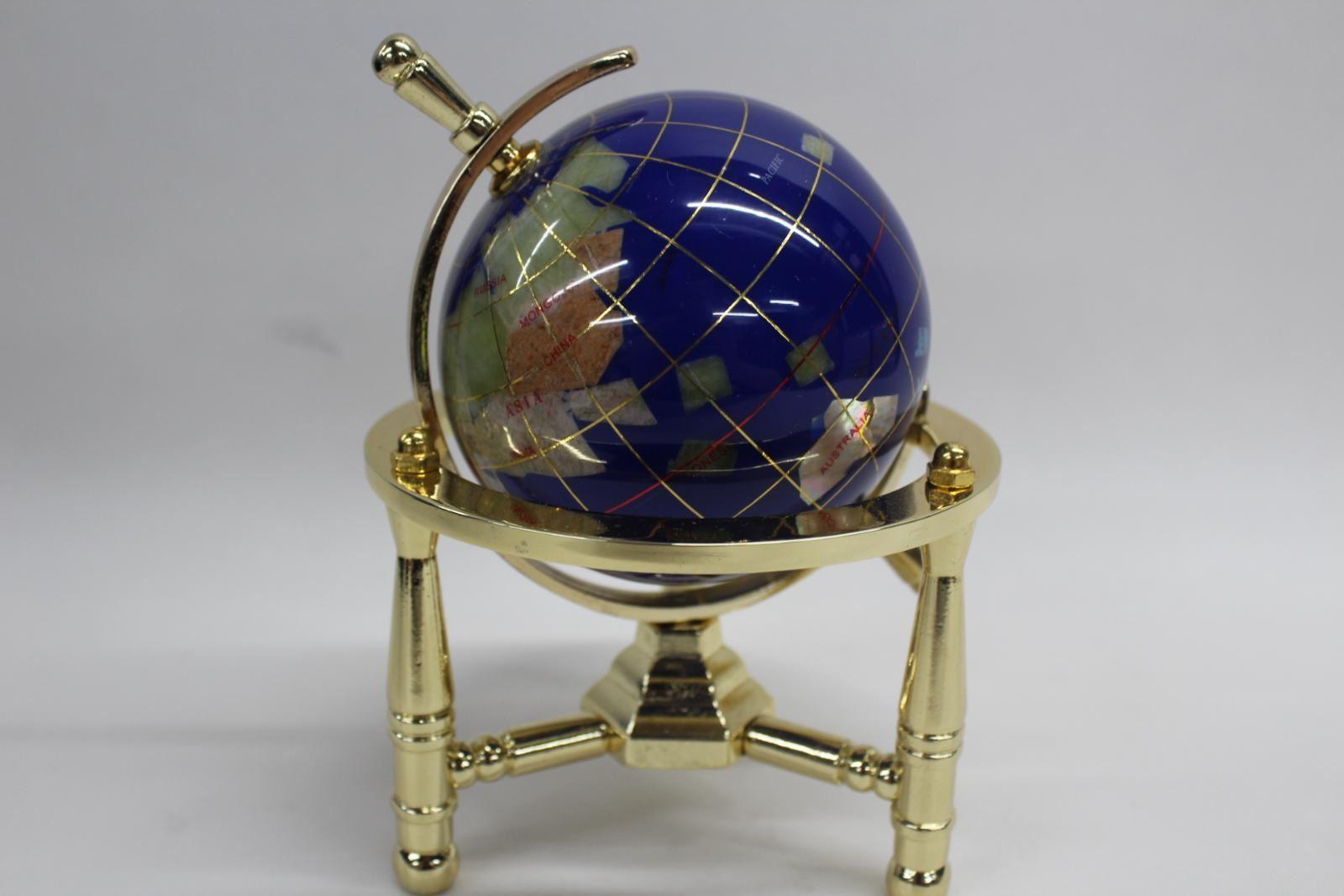 Unique Art 6 In (environ 15.24 Cm) Mini Table Top Gemstone Globe Terrestre Fait à La Main Avec Boite-afficher Le Titre D'origine