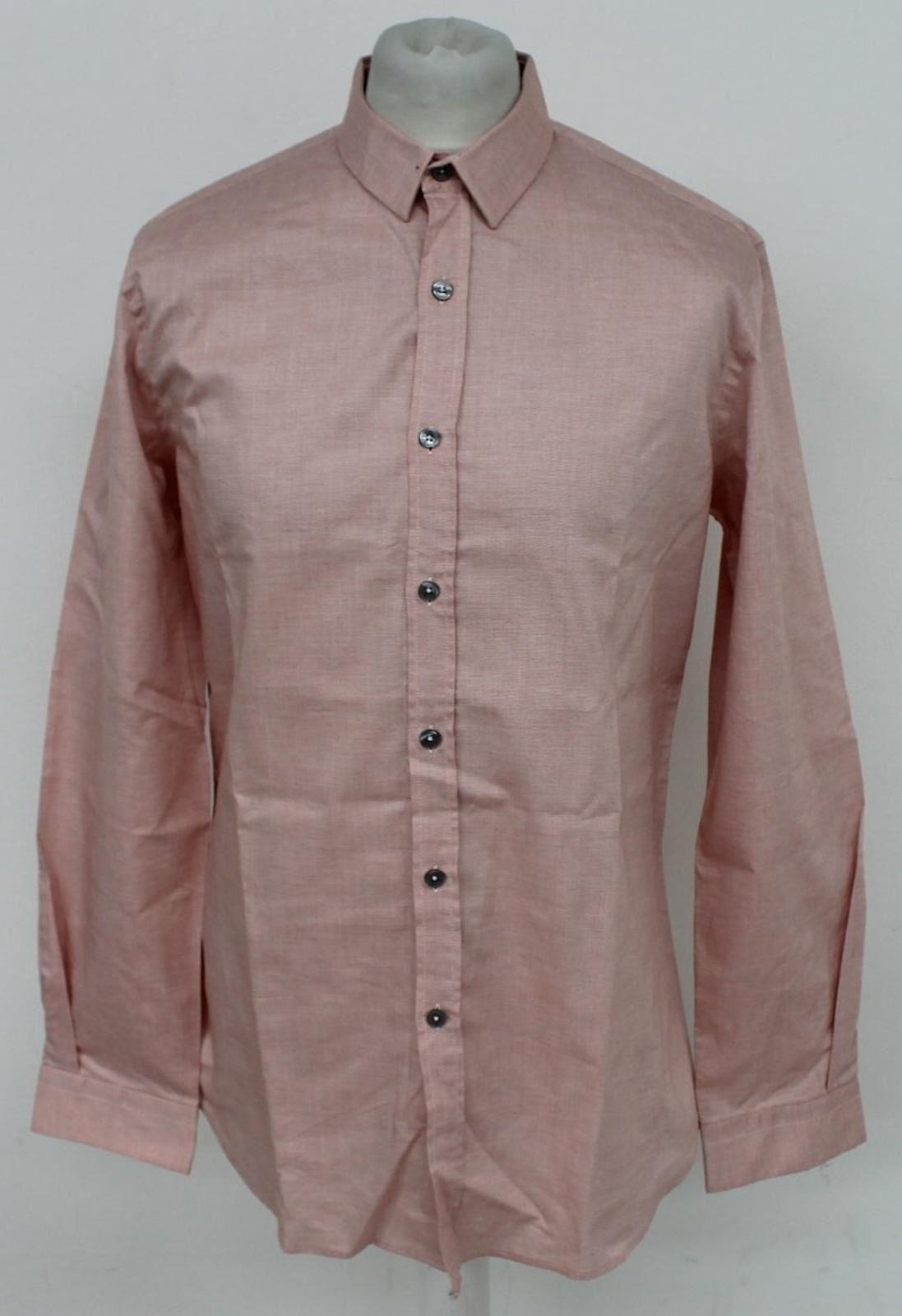 Paul-Smith-Para-Hombre-Rojo-Y-Blanco-Micro-Grafico-Impresion-a-medida-con-Camisa-Talla-17-43-Nuevo