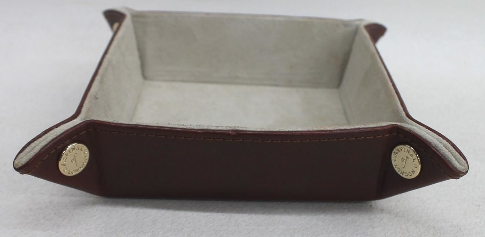 ASPINAL-OF-LONDON-Mini-Tidy-Tray-Brown-Leather-Suede-Lined-Trinket-Holder