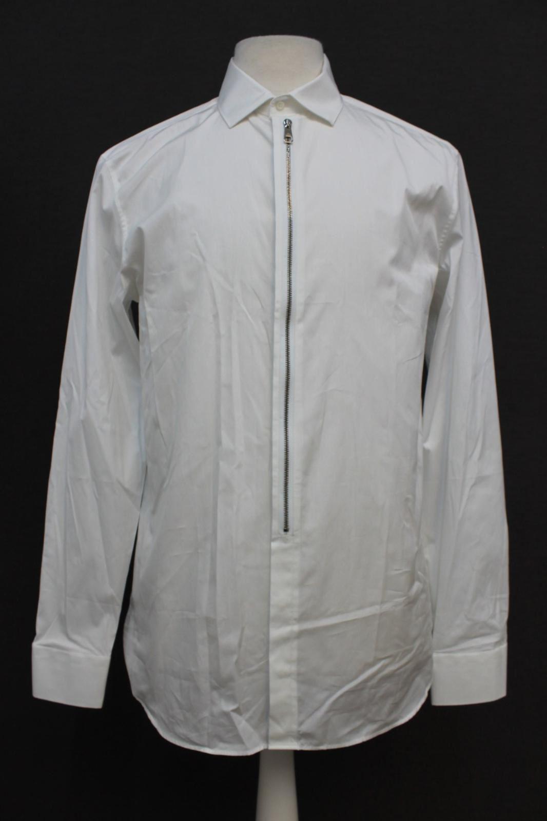 Neil-Barrett-para-hombre-calce-cenido-de-algodon-blanco-frontal-con-cremallera-con-cuello-camisa