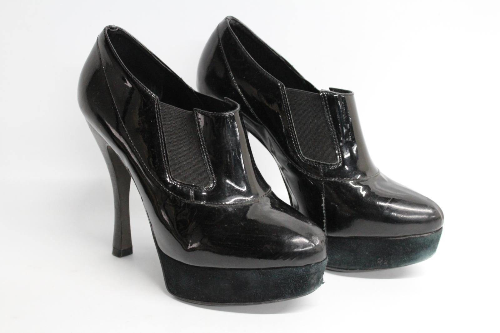 Carvela-Damas-De-Cuero-Negro-Resbalon-en-Zapatos-Tacon-Stiletto-botas-talla-UK7-EU40