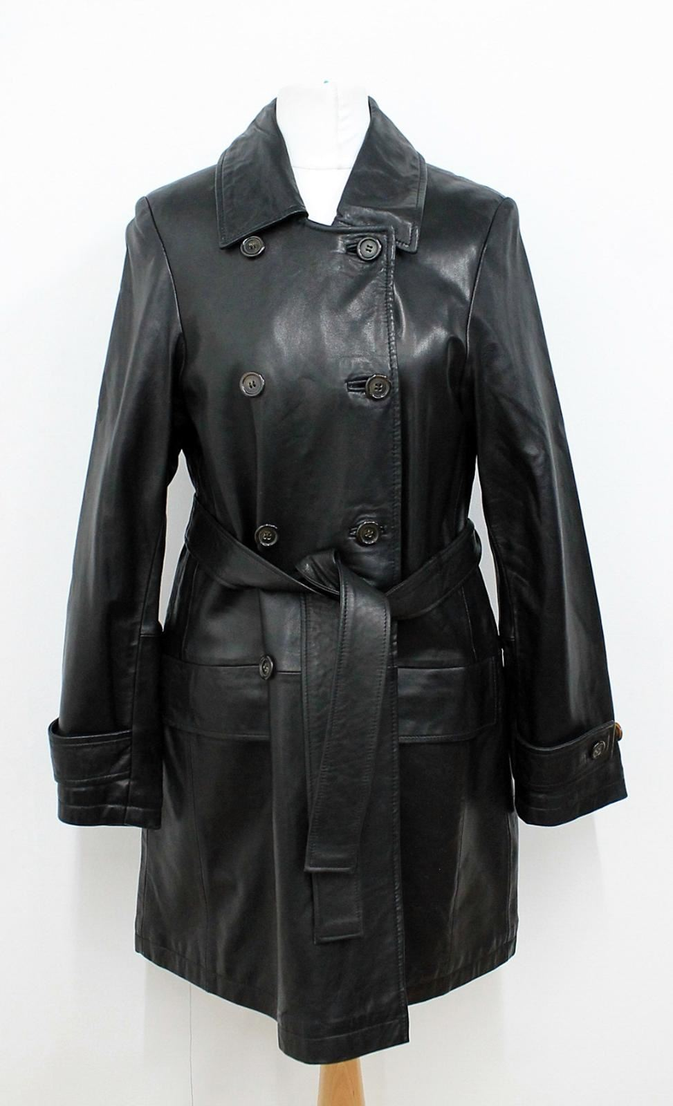 ANDREW-MARC-Ladies-Black-Leather-Double-Breasted-Trench-Jacket-Approx-S