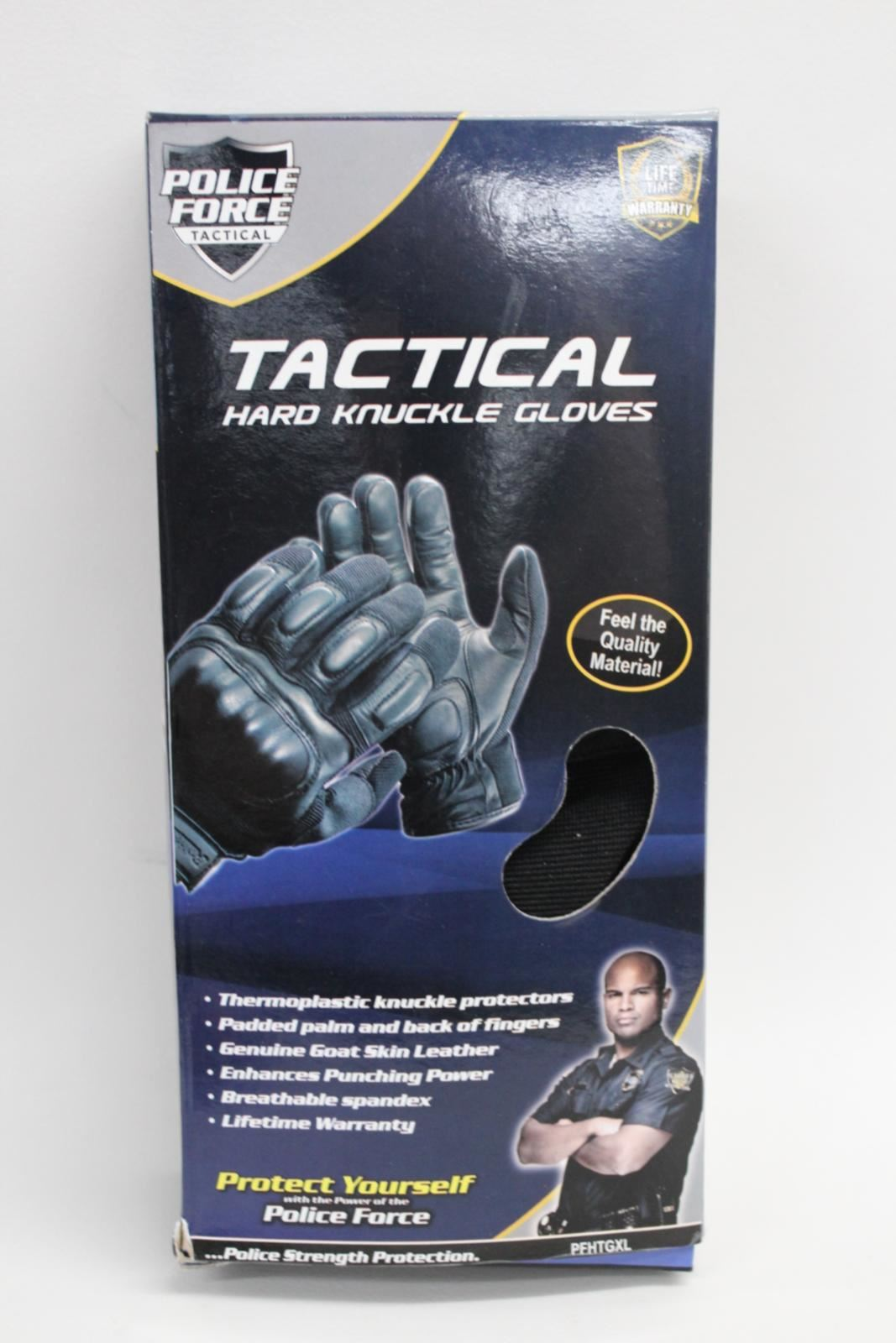 POLICE-FORCE-TACTICAL-Leather-Palm-Hard-Knuckle-Gloves-Black-Bikers-XL-NEW