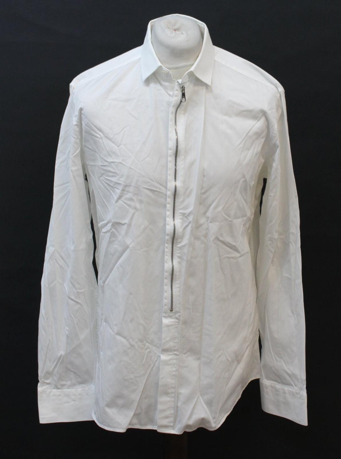 Neil-Barrett-para-hombre-calce-cenido-de-algodon-Blanco-Detalle-De-Cremallera-Botones-Camisa-Cuello