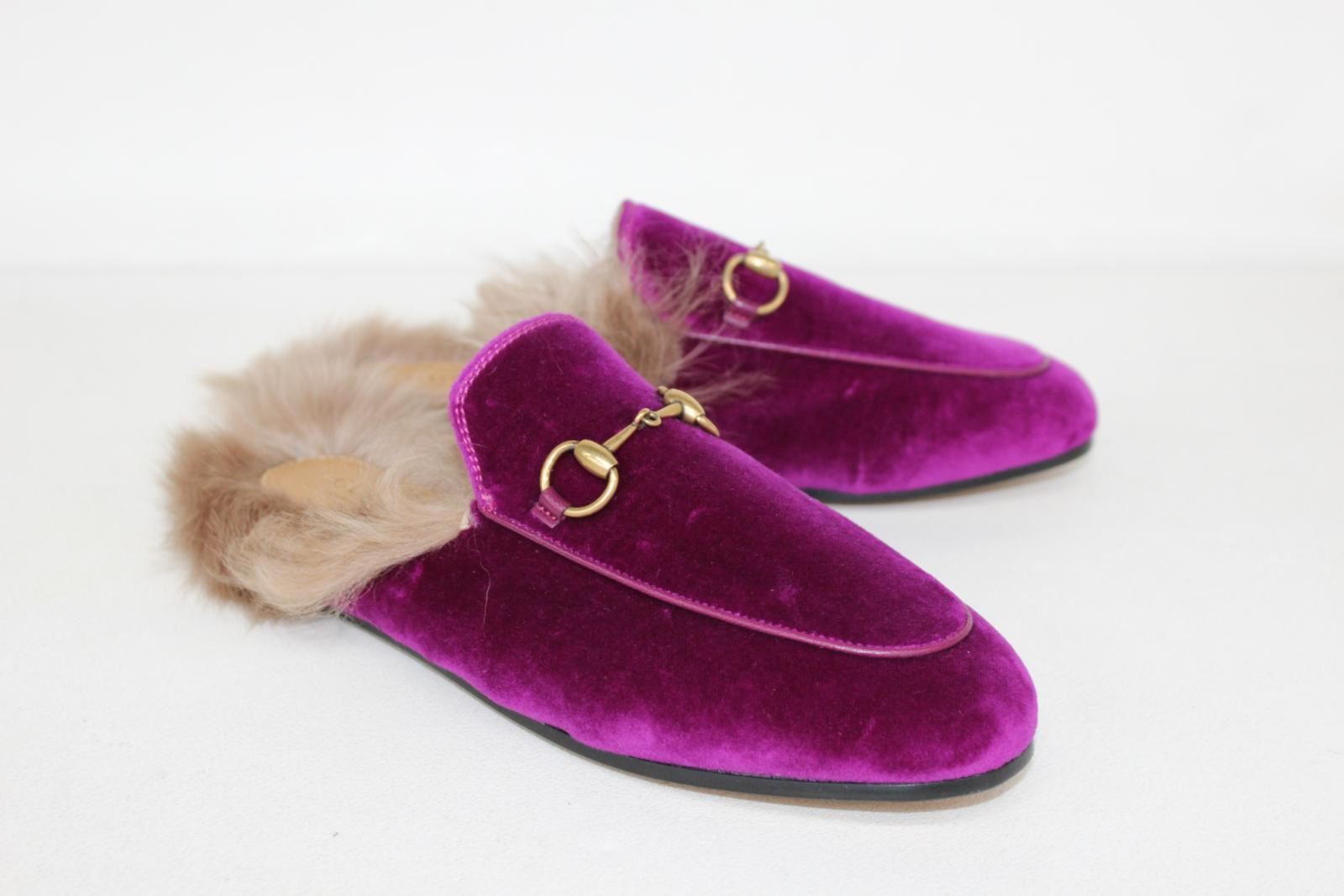 1e2ff94eb Image is loading GUCCI-Ladies-Purple-Leather-Princetown -Velvet-Slippers-With-