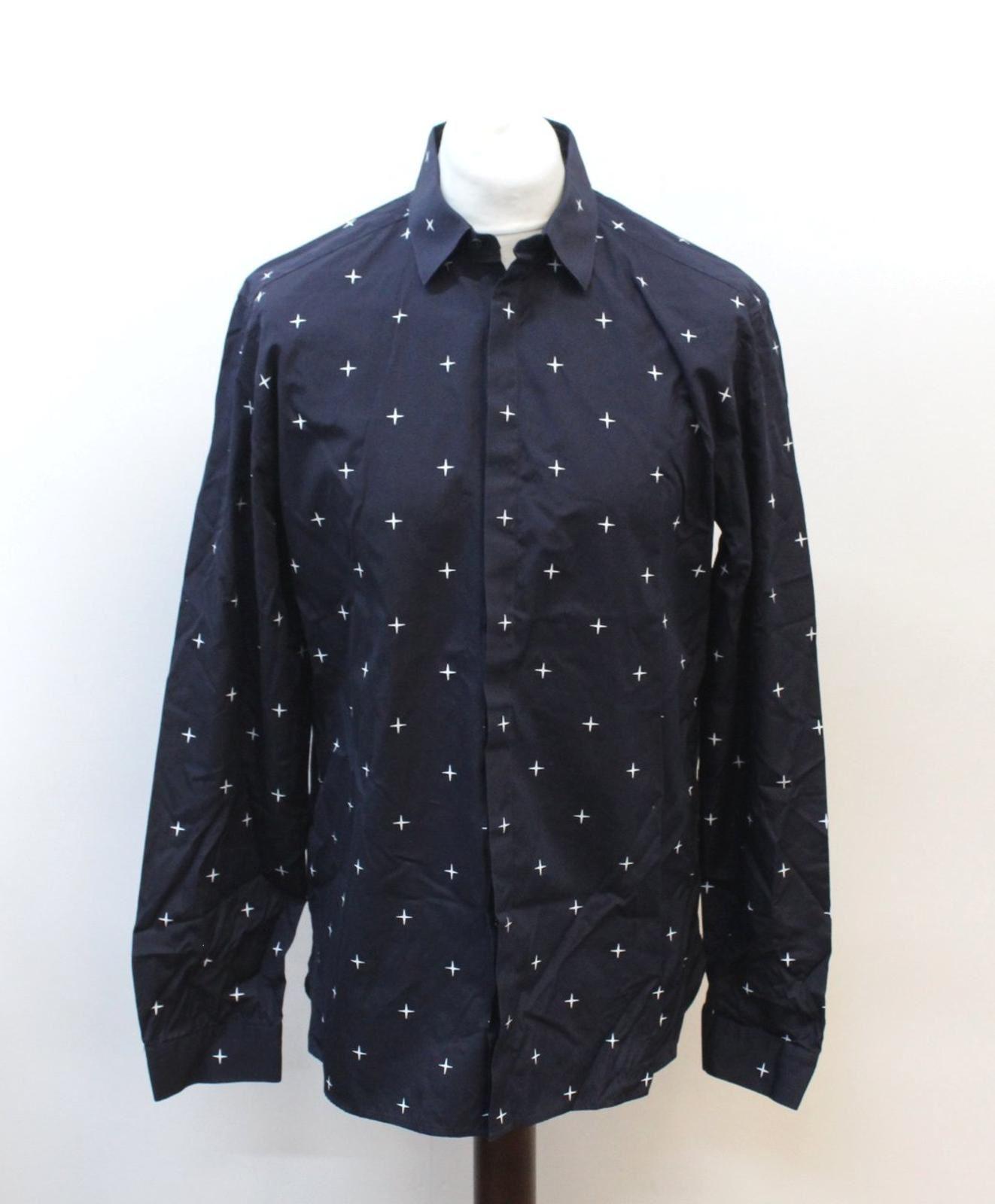 Neil-Barrett-Hombre-Azul-Marino-Blanco-Cuello-De-Camisa-formal-calce-Cruz-16-5-034-42cm