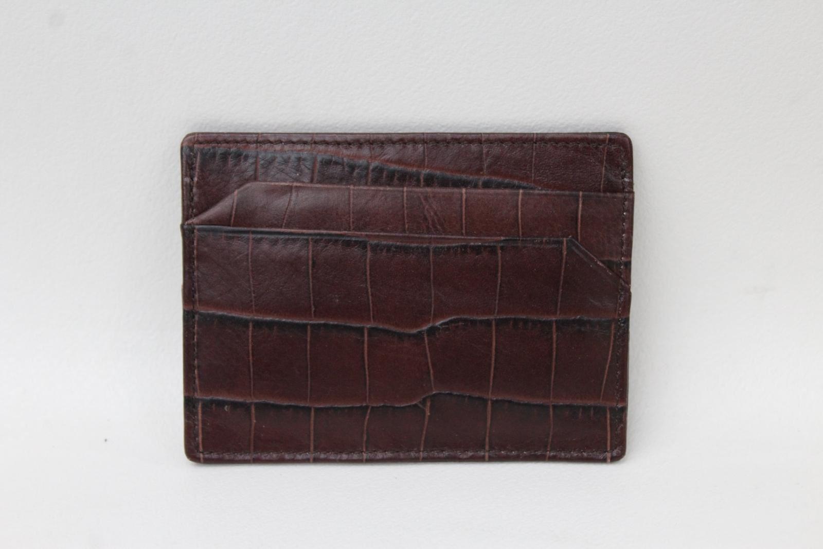 KIKI-JAMES-Men-039-s-Brown-Croc-Embossed-Leather-5-Slot-Credit-Card-Holder-NEW
