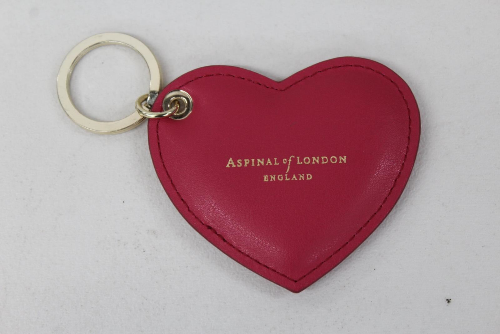 ASPINAL-OF-LONDON-Ladies-Smooth-Pink-Leather-amp-Gold-Heart-Shaped-Keyring-NEW