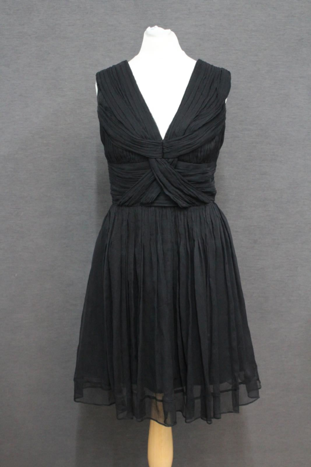 BURBERRY-Ladies-Black-Sleeveless-Zip-Up-V-Neck-Maxi-Mini-Dress-EU38-UK10