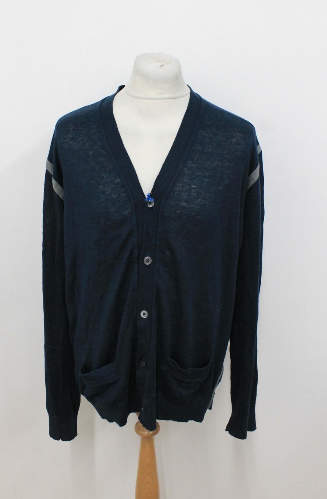lunghe Paul uomo Bnwt maniche Smith da scuro alto a Xxl con Cardigan in collo lino blu UnwxRd68wq