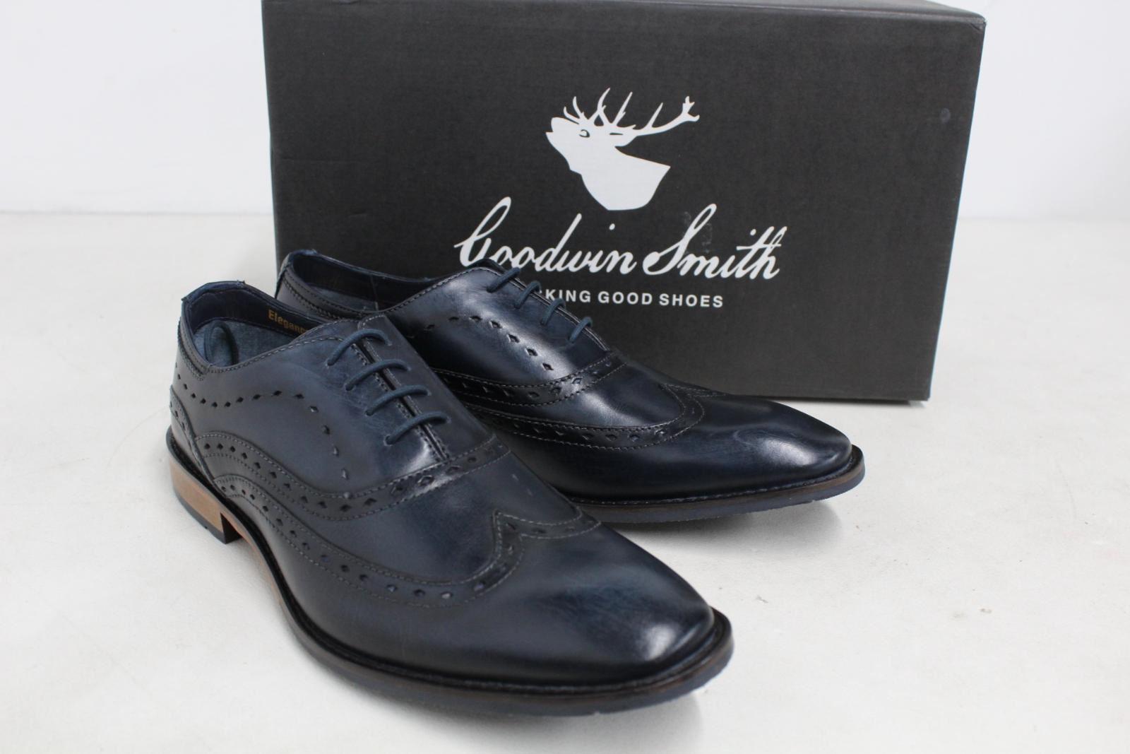 GOODWIN-para-hombre-Azul-Marino-Bowland-SMITH-Cuero-Oxford-Zapatos-UK-7-EU41-Nuevo