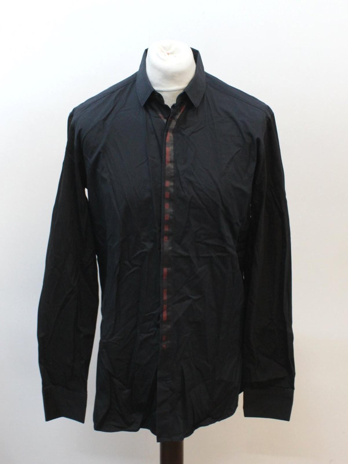 Neil-Barrett-Hombre-Azul-Manga-Negra-Cuello-Camisa-de-impresion-Corbata-Slim-Fit-16-5-034-42cm