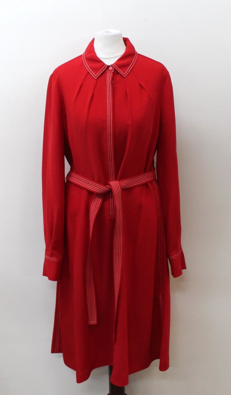 Hobbs-Damen-Tief-Rot-Langarm-Kragen-Nancy-Shirt-Kleid-uk12-eu40-NEU