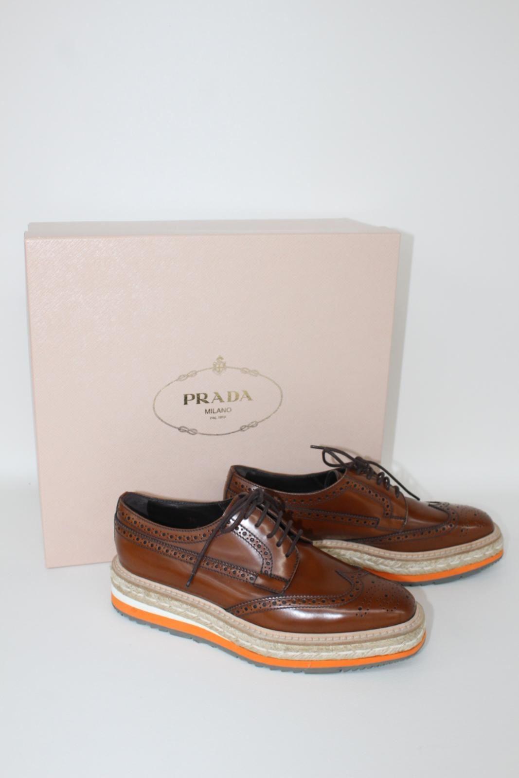PRADA-Spazzolato-Leather-Brogue-Ladies-Tabaco-Brown-Leather-Shoes-UK3-EU36-BNIB