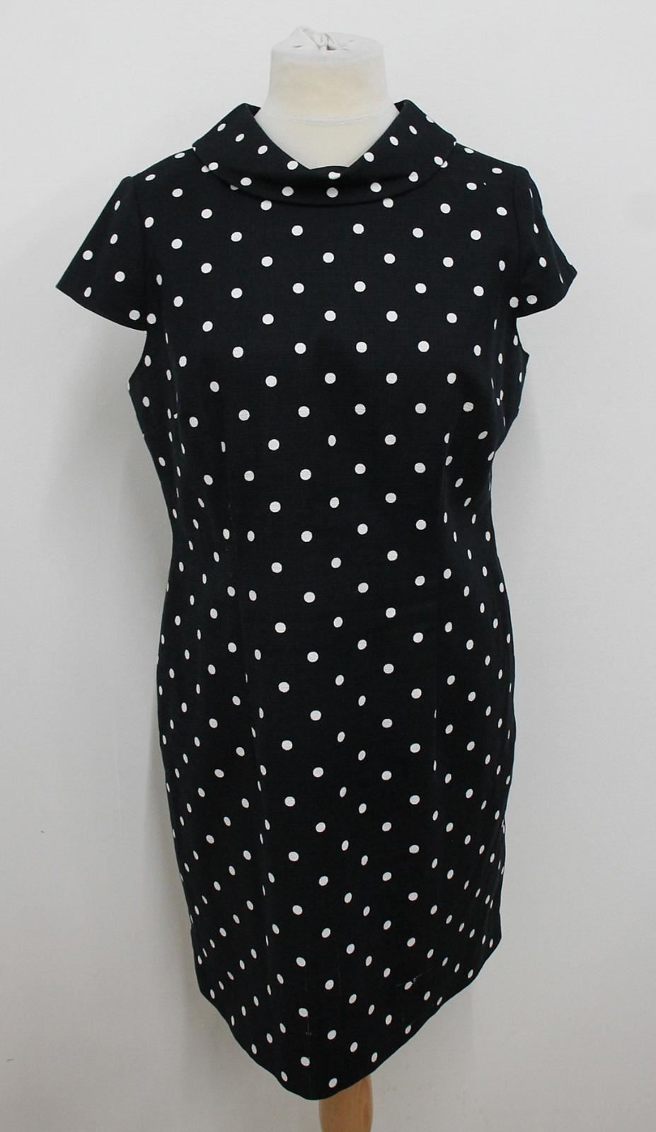 HOBBS-Ladies-Navy-Blue-White-Polka-Dot-Funnel-Neck-Liana-Shift-Dress-UK16-NEW